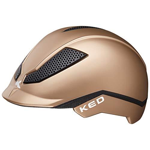 KED Pina M Gold matt - 51-56 cm - inkl. RennMaxe Sicherheitsband - Fahrradhelm Reithelm Skaterhelm MTB BMX Kinder Jugendliche
