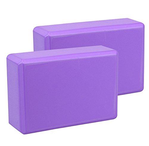 Exerz Bloques de Yoga 2 Piezas - Cómodo Ladrillo Yoga/Bloque de Espuma/Antideslizante - Ligero y fácil de Usar (Púrpura)