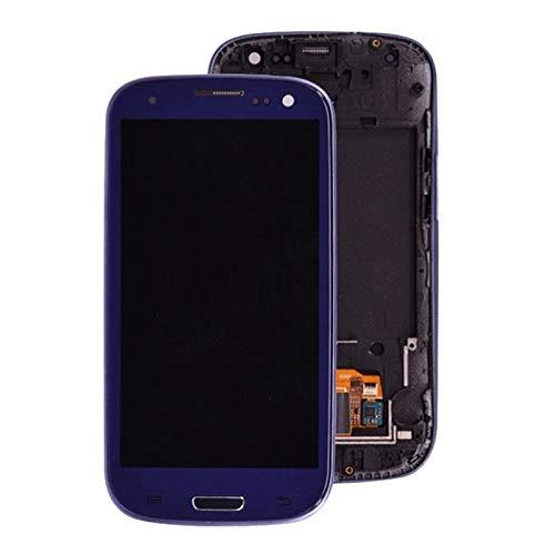 Pantallas LCD para teléfonos móviles Pantalla LCD Pantalla táctil Digitalizador Home Botton Montaje Completo con Marco de Bisel/Ajuste para Samsung Galaxy S3 I9300 (Color : Blue)