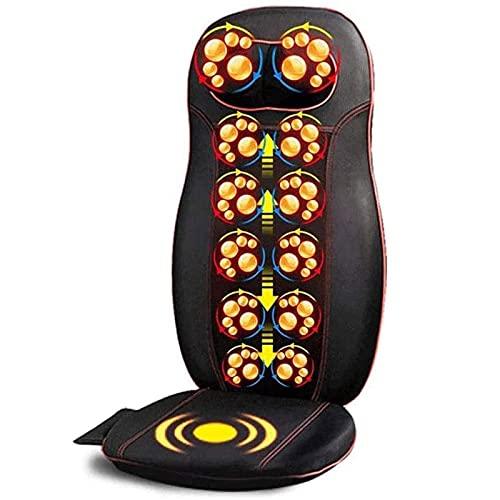 ZHANGTAOLF Ganzkörper-Massage-Sessel-Pad -shiatsu-Nacken-Rückenmassagegerät mit Wärme- und Luftkompresse, Knete voller Rückenmassagesitz Tragbare Stuhlkissen,Schwarz