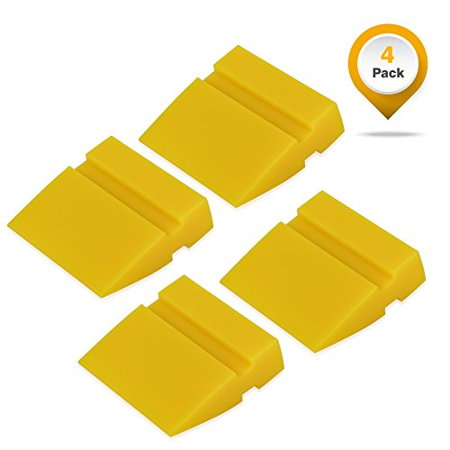 Winjun 4 Pack 5CM Länge Gelb Mini Gummirakel Rakel Andrückrakel Wasserabzieher Fensterabzieher Wasserschieber Wasserabstreifer für Autofolie Fensterfolie