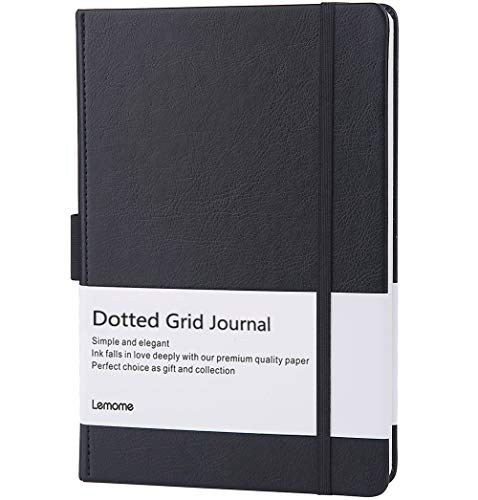 Dotted Journal/Cuaderno Punteado - Lemome A5 Cuaderno de Tapa Dura - Papel Grueso Premium - Página Dividers Gifts, Negro