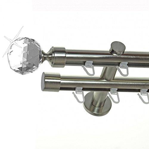BASIT Innenlauf Gardinenstange Edelstahl Look 20mm Wandträger 2-läufig Zylinder Kristall Kugel, Länge wählbar H40 E87E30, Länge:200 cm