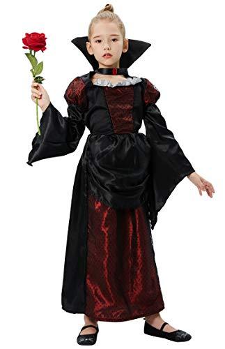 Tacobear Disfraz para Niños Chica Vampiro Disfraces Cosplay Disfraces Dracula Halloween Carnaval (M(7-8 años))