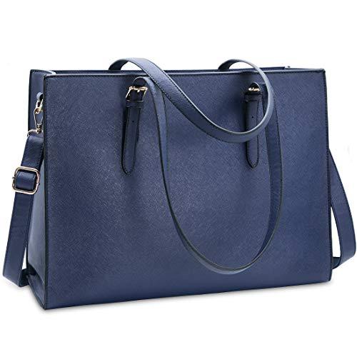 NUBILY Handtasche Shopper Damen Große Schwarz Handtasche Leder Umhängetasche Arbeitstasche Gross Laptop Business Schule Taschen 15.6 Zoll Blau