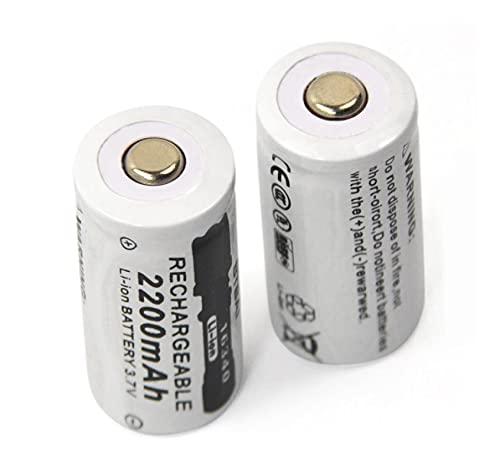 2 Uds 3.7 v 2200 Mah Li-Ion 16340 Cr123a Batería Recargable, para Linterna CáMara Cargador Inteligente Faro Bicicleta Juguete