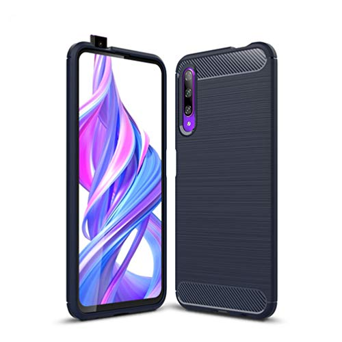 Huawei Y9s/Huawei P Smart Pro Case, Silicone Leather[Slim Thin] Flexible TPU Protective Case Shock Absorption Carbon Fiber Cover for Huawei Y9s/Huawei P Smart Pro Case (Navy)