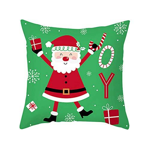 Benoon Pillow Case, Santa Xmas Tree Snowman Star Elk Gift Pattern Throw Pillowcase Cushion Cover Sofa Decor Xmas Decoration 14