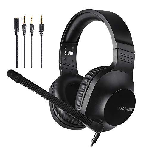 SADES kabelgebundenes Gaming-Headset Spirits, Over-Ear-Stereo-Headset mit Mikrofon und Lautstärkeregelung, Y-Adapter, für PC, Laptop, Mac, PS4, Nintendo Switch (Schwarz)