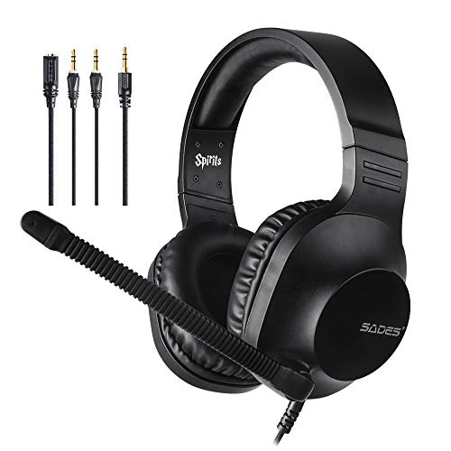 SADES kabelgebundenes Gaming-Headset Spirits, Over-Ear-Stereo-Headset mit Mikrofon und Lautstärkeregelung, Y-Adapter, für PC, Laptop, Mac, PS4, Nintendo Switch, Schwarz