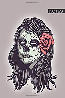 Notes: female sugar skull / medium size notebook with lined interior, page number and date, ideal for organization, daily planner, journal, taking ... the dead, dia de los muertos, makeup, mexican