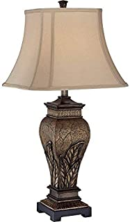 Lite Source C41225 Table Lamp with Tan Fabric Shades, Bronze Finish, 15.0