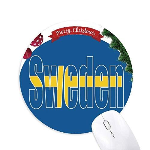 Schweden Country Flag Name Rundgummi Maus Pad Weihnachtsbaum Mat