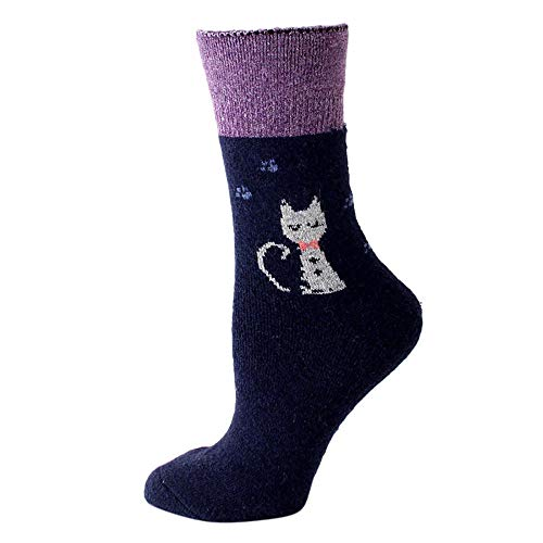 TIGERROSA De kousen Vrouwen schattige dier gedrukt lange sokken mode kleurrijke grappige casual Crew Cat Cotton Crew sokken super zachte dames sokken blauw