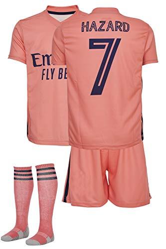 AMD SPORTS Madrid Camiseta para niños Hazard Viene con Pantalones Cortos y Calcetines, edición visitante Tallas para niños (3-14 años)…… (Hazard Away, 104)