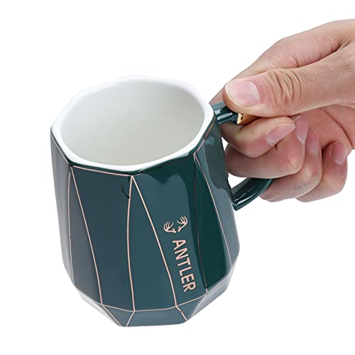 SHYEKYO Taza de té, Taza de Bebida de diseño de Capacidad de 400 ml para Regalos de Boda para Regalos de cumpleaños(Green Spoon with Lid)