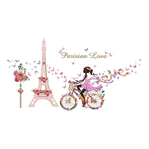 Yesurprise 3D Wall Decals Stickers Pink Paris Tower Butterfly Flower Girl Removable Kids Room Art Nursery Bedroom Home Decorations Large 23.6inch x 35.4inch