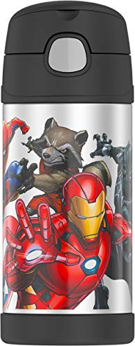 THERMOS FUNTAINER 12 Ounce Stainless Steel Vacuum Insulated Kids Straw Bottle, Marvel Universe