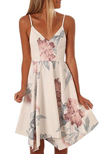 TOUVIE Sommerkleider Damen V-Ausschnitt Spaghettiträger Rückenfreies Blumen Strand Kleider A-Linie Abendkleid Knielang Weiß M