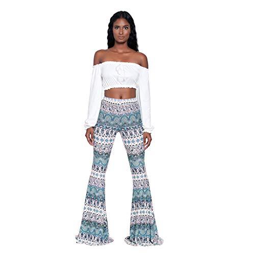 TOPKEAL Pantalones Largos de Estilo Nacional Boho para Mujer Pantalón Acampanado Anchos Estampado de Damas