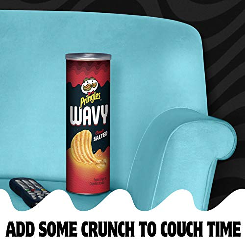 Pringles Wavy, Potato Crisps Chips, Classic Salted, 4.5oz Can