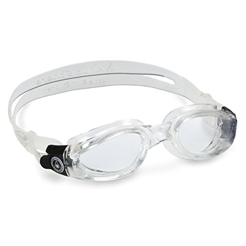 Aqua Sphere Kaiman Swim Goggles with Clear Lens (Transparent). UV Protection Anti-Fog Swimming Goggles for Adults