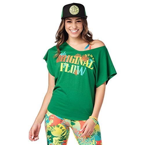Zumba Fitness Athlétique Top Femme Coupe Ample Dance Vetements Sport Haut d Entraînement, Camiseta Mujer, Opacity, Groovin  Green, X-Small Small