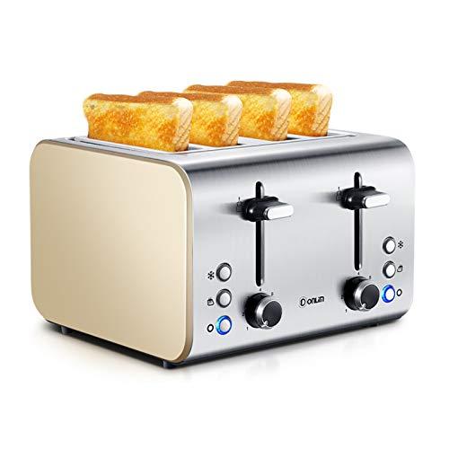 WANGYIYI 1400W Toasters Acero Inoxidable Tostadora Inicio Máquina de Desayuno Máquina de sándwich 4 Slot Máquina de Hornear multifunción Máquina de Hornear 220V