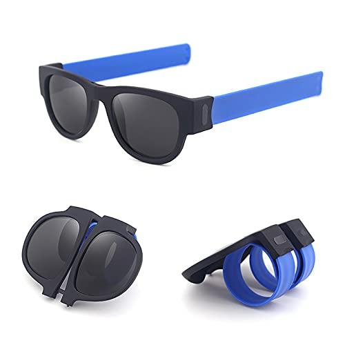 Gafas de sol de muñeca de pulsera, gafas de sol de pulsera, gafas de sol de moda, deportes al aire libre, playa, plegable, se aplica a hombres/mujeres/adultos/niños, Blue,