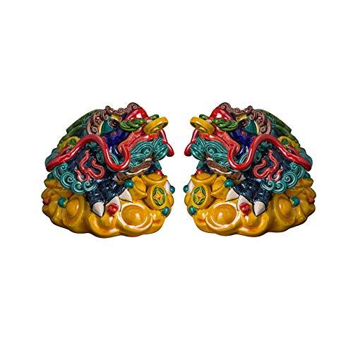 xuejuanshop Estatua chinesische Feng Shui Golden Toad Ceramic Decoración Casa Sala de Estar Money Frog Desk Decoración Feng Shui Dispositivo Apertura Regalos Atraer Riqueza Estatuas