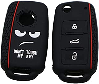 Do not Touch My Key Style Silicone Car Key Cover For Volkswagen Jetta Polo Passat Skoda Tiguan Golf(Black) High Quality (C...