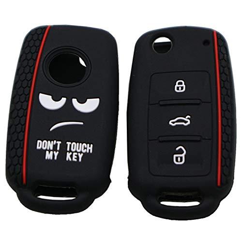 Autoschlüsseletui Do not Touch My Key-Art-Silikon-Auto-Schlüssel-Abdeckung for Volkswagen Jetta Polo Passat Skoda Tiguan Golf (schwarz), Autoschlüssel Fall (Color : Black)