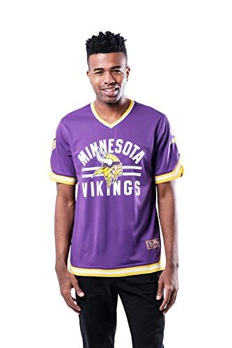 Ultra Game NFL Minnesota Vikings Mens Standard Jersey V-Neck Mesh Stripe Tee Shirt, Team Color, Small Michigan