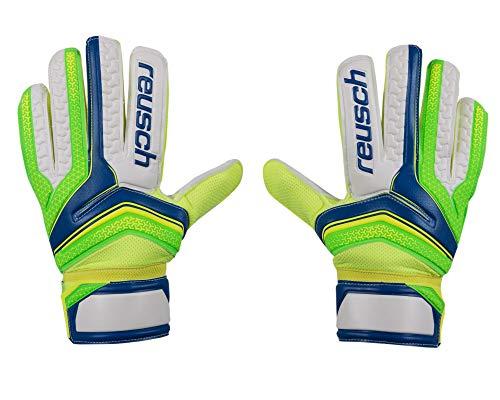 Guanti Portiere Calcio Calcetto Reusch Serathor 2017 Goalkeeper Gloves (Electric Blue - Green Geko, 9)