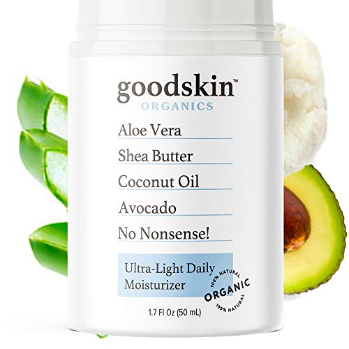 Organic Face Moisturizer for Women and Men - Unscented Natural Hydrating Day & Night Face Cream for All Skin Types - Non-Greasy & Gentle Anti Wrinkle Anti Aging Skin Care by Goodskin - 1.7oz