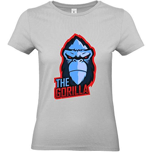 T-Shirt Femme Geek Gorille [Jeux Vidéos, Gamer, Animaux] T-Shirt Manches Courtes, Col Rond - XS, Gris
