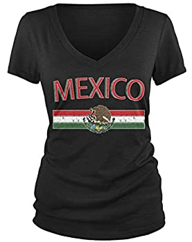 Amdesco Junior s Mexican Flag and Coat of Arms Mexico V-Neck T-Shirt Black Medium