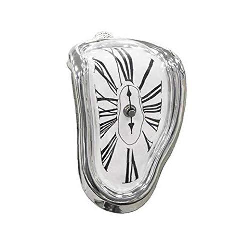 PiniceCore Kreative Sitz Verdrehte Uhr Melting Clock Table Corner Uhr Römische Zahl Uhr Retro Deformations Time Clock (Silber)