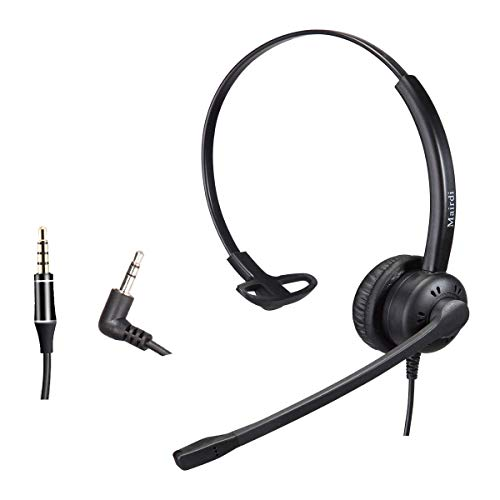 Phone Headset with 2.5mm & 3.5mm Connector for Deskphone Cell Phone PC Laptop, Mono CallCenter Office Headset with Microphone Noise Canceling for Panasonic AT&T Vtech Cordless DECT Phone for Polycom
