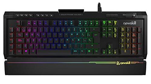 Newskill Aura - Teclado mecánico gaming RGB (Estructura metálica, reposamuñecas removible y retroiluminado, Switch BLUE), negro