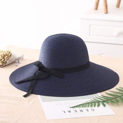 Sombrero de Paja para niñas de ala Ancha Plegable Simple, Sombrero de Playa para Mujer, Sombrero de Verano con protección UV, Gorra de Viaje para Mujer-blue-55-58cm