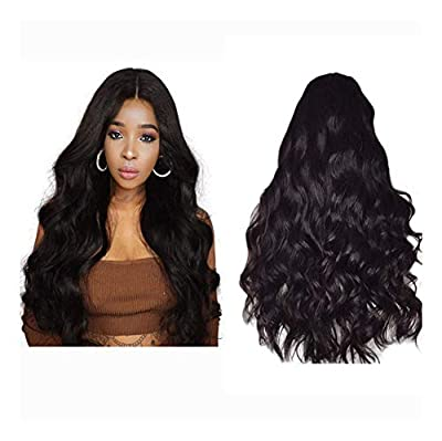 YOKOKO 25 Inch 100% Real Human Hair Lace Front Wigs for Women Pre-plucked & Bleached Knots Natural Hairline Hair Body Wave Natural Black Color