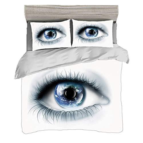 Funda nórdica Tamaño doble (150 x 200 cm) con 2 fundas de almohada Ojo Juegos de cama de microfibra Planeta Tierra Reflejado en Vivid Eye Universe Global Unity Imagination Future Decorative,Black Whit