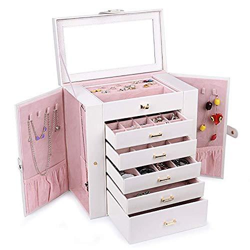 Chyuanhua Schmuck-Aufbewahrungsbox für Damen, hängende Ohrringe, Spiegel, Schrank, Aufbewahrung, Seitentür, Kleiderschrank, Aufbewahrungsbox, für größere Ohrringe, Ringe, Manschettenknöpfe, B weiß