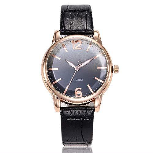 Uhren Damenuhren Watches Armbanduhren WatchMode Frauen Gradient Dial Uhren Leder Frauen Quarz-Armbanduhren Clock-Black