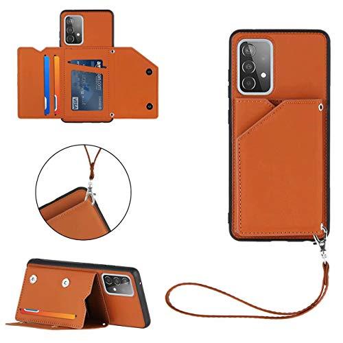 FHXD Compatible con Funda Samsung Galaxy A02S con Tarjetero PU Cuero Wallet Caso [Protector de Pantalla] Ranura para Tarjetas y Soporte Plegable Anti-Shock Cubierta-Marrón