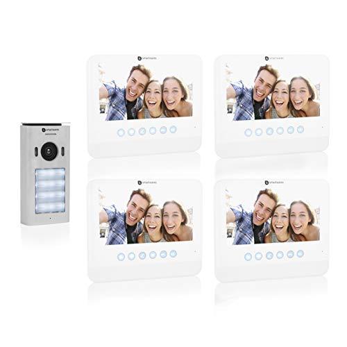 Smartwares DIC-22242 - Videoportero para 4 ranuras DIC-22242, pantalla de 7 pulgadas y cámara HD, color blanco