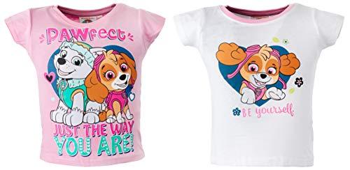 Brandsseller Kinder T-Shirt 2er Set Freizeitshirt Kurzarmshirt mit Motiven im Stil von Paw Patrol Rosa/Weiß - 110/116