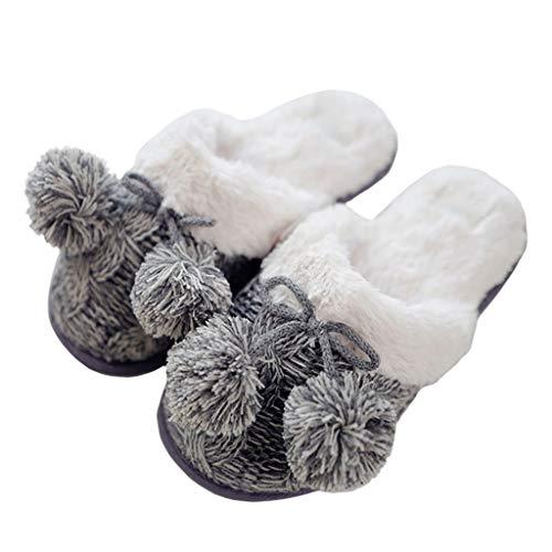 WYBFZTT-188 Invierno Cálido Tejido De Lana Zapatillas De Casa Zapatos De Mujer Negro Caucho Mulher Mantener Caliente Moda Zapatillas De Interior