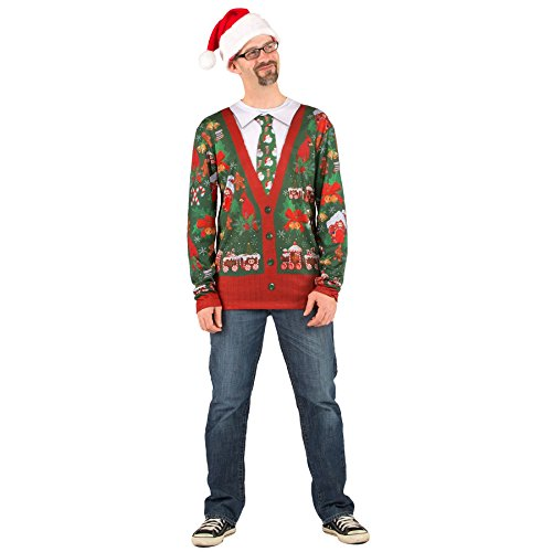 Faux Real Men's 3D Photo-Realistic Ugly Christmas Sweater Long Sleeve T-Shirt, Cardigan, Large